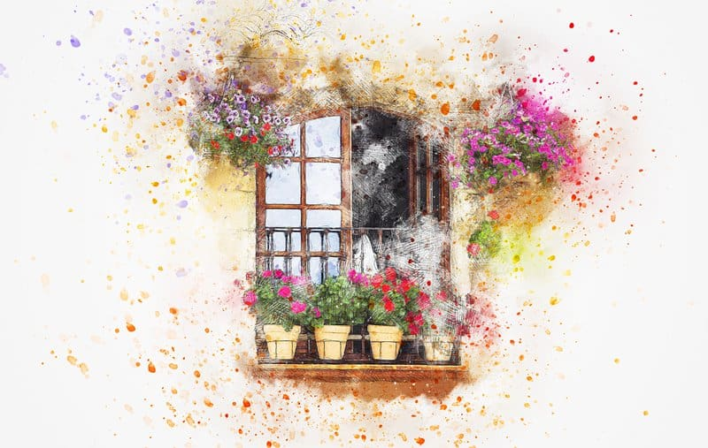 painting balcony with flowers