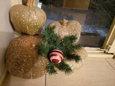 Коледна украса с тикви, зелена клонка и червена топка
